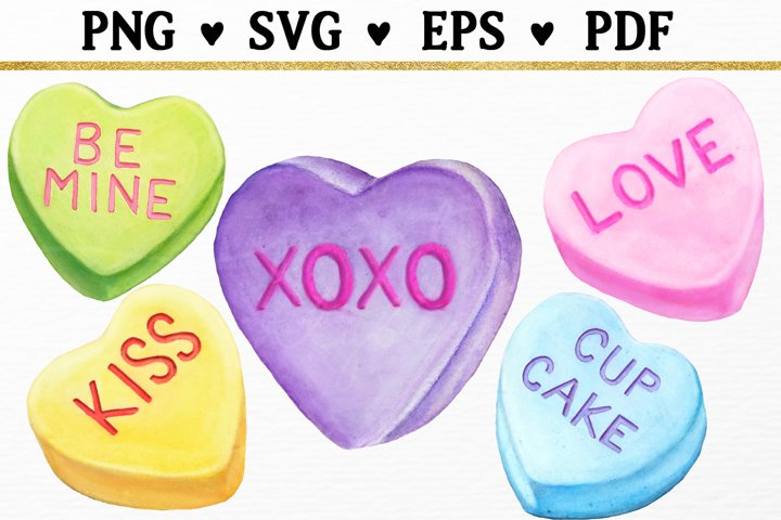 5 Sweetheart Candy Hearts Valentine Clipart SVG