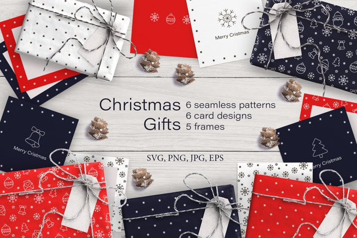 Christmas Gifts Patterns wrap, cards, frames SVG PNG EPS JPG