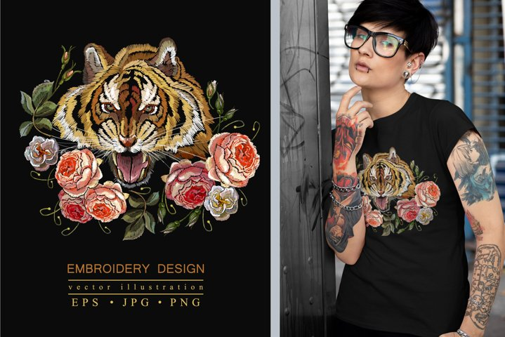 Embroidery tiger and roses