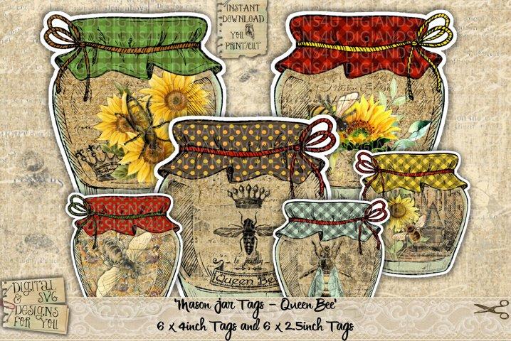 Printable Mason Jars | Queen bee | Tags | Vintage | Journal