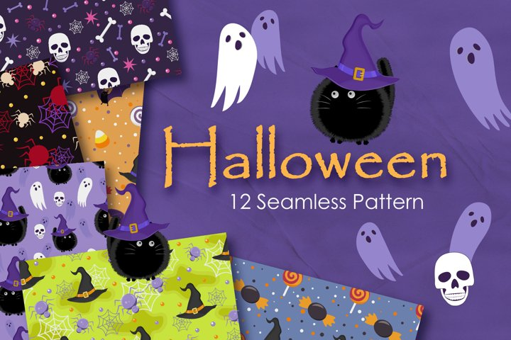 Halloween Witch Cat and Ghost Seamless Pattern