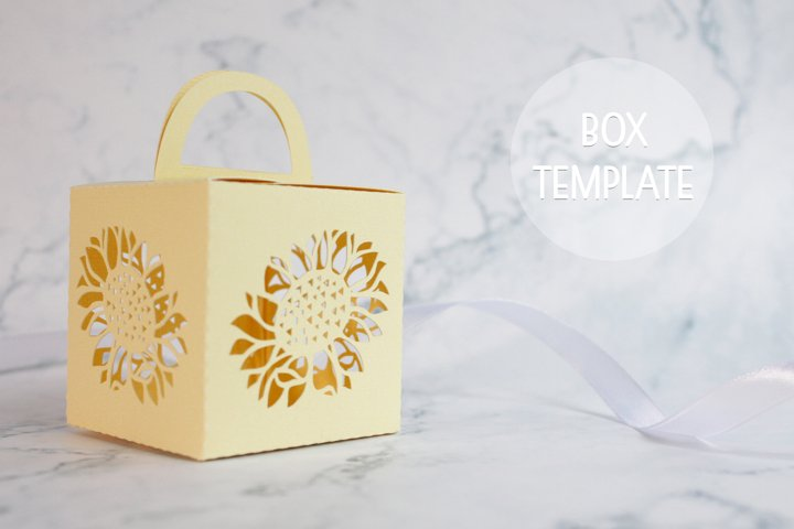 Sunflower favor box svg, Wedding favor boxes