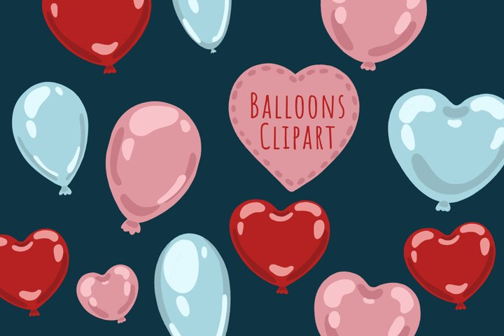 Balloon clipart, Birthday clipart, Heart Balloon clipart