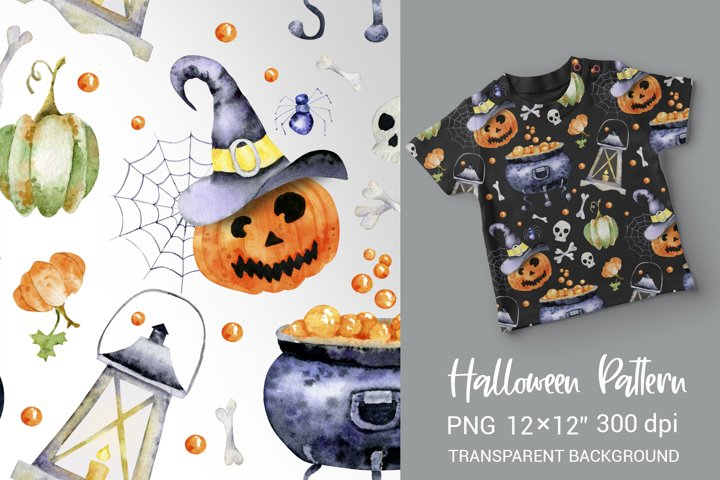Watercolor Halloween Seamless Pattern. Digital paper