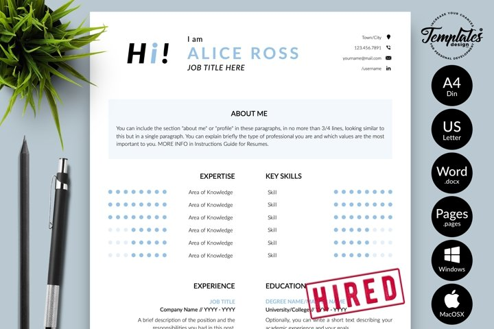 Creative Resume CV Template for Word & Pages Alice Ross