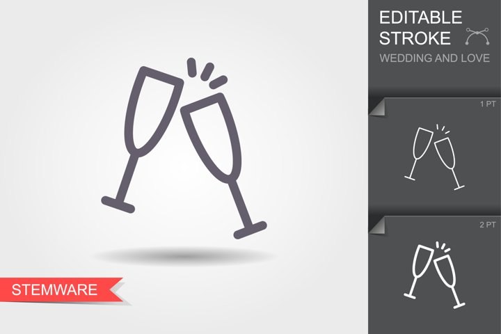 Champagne glasses. Line icon with editable stroke