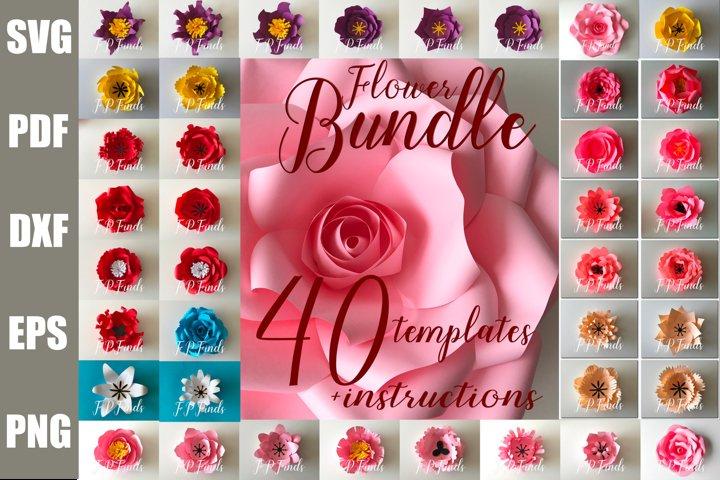 40 Printable Paper Flower Template Bundle SVG PDF PNG DXF