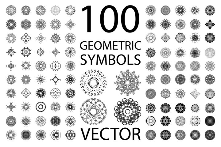 Set of 100 isolated vector symbols.