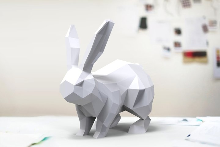 Paper cut rabbit low poly