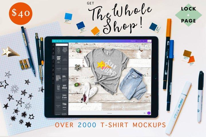 The Whole Shop - Lock & Page T-Shirt Mockup Bundle - On SALE