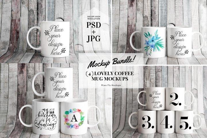 4x Bundle mug mockup PSD sublimation 11oz mugs mockups