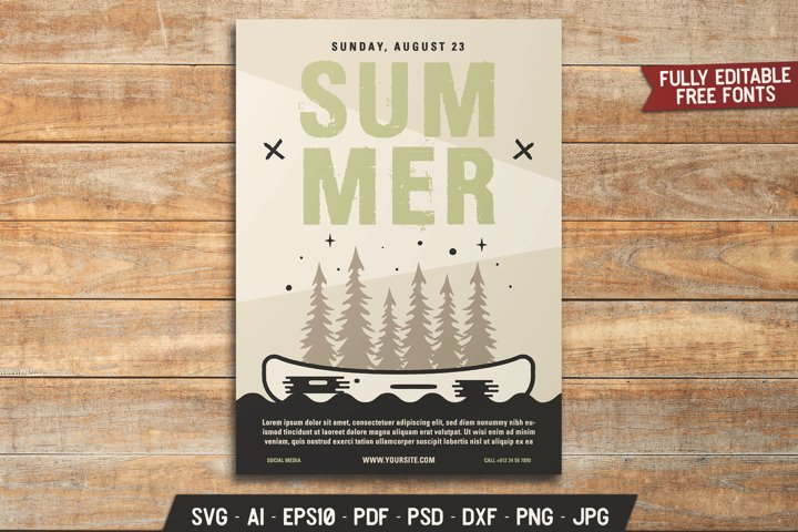 Summer Retro Camping Flyer SVG Template Adventure Card DXF