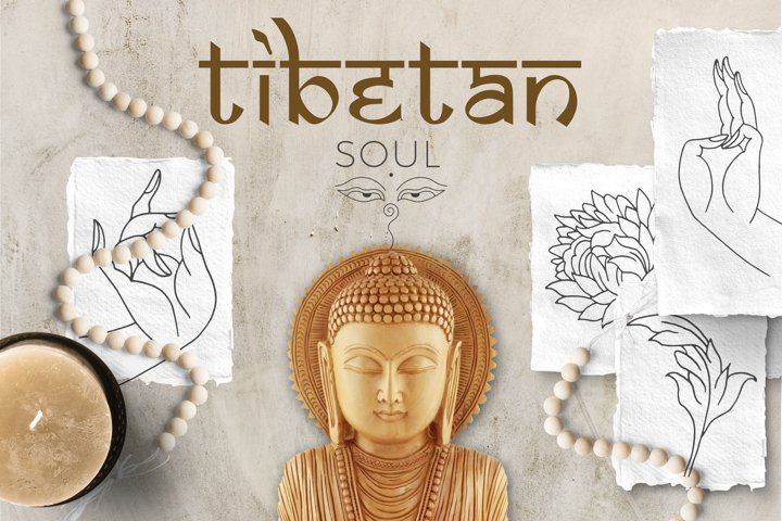 Tibetan Soul. Line Art Graphis Set