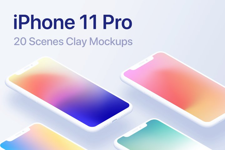 iPhone 11 Pro - 20 Clay Mockups Scenes - PSD