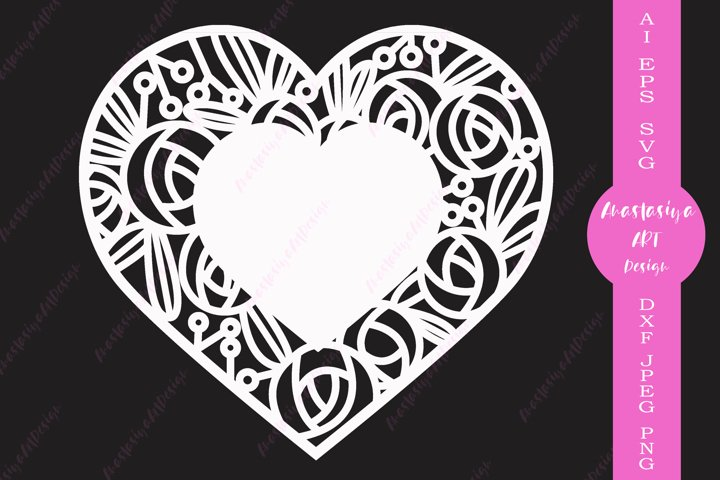 Floral heart card template, Rose and heart for cut