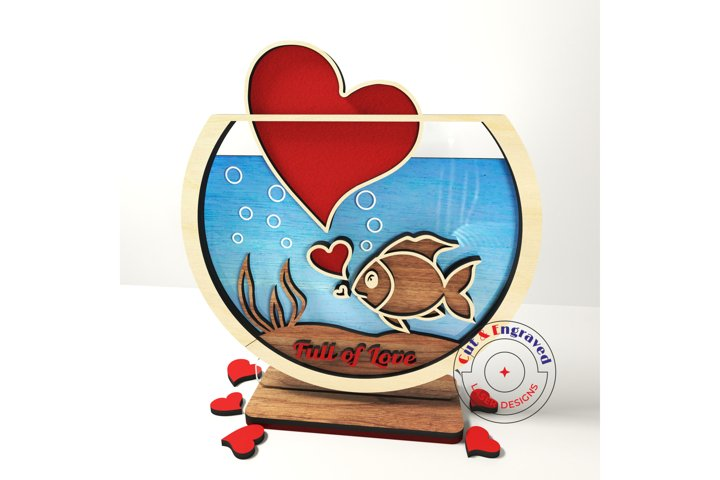 Valentines day hearts, a fish in aquarium. Glowforge ready.