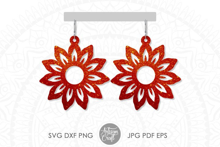 Sunflower earring svg, Floral earrings, cut file