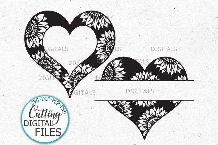 Sunflower heart frame monogram svg dxf cricut cut template