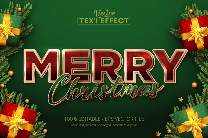 Merry christmas text, rose gold color style text effect