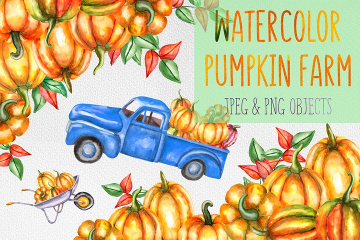 Watercolor pumpkin patch, farm