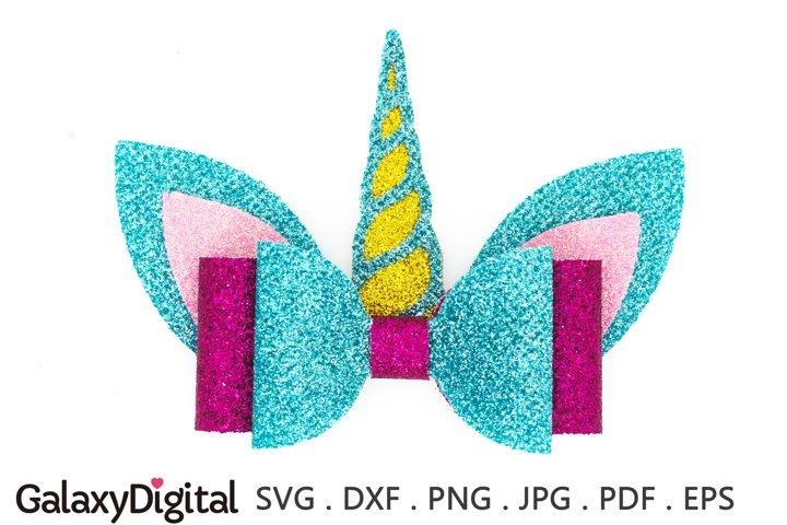 Unicorn Hair Bow SVG, Hair Bow Template SVG