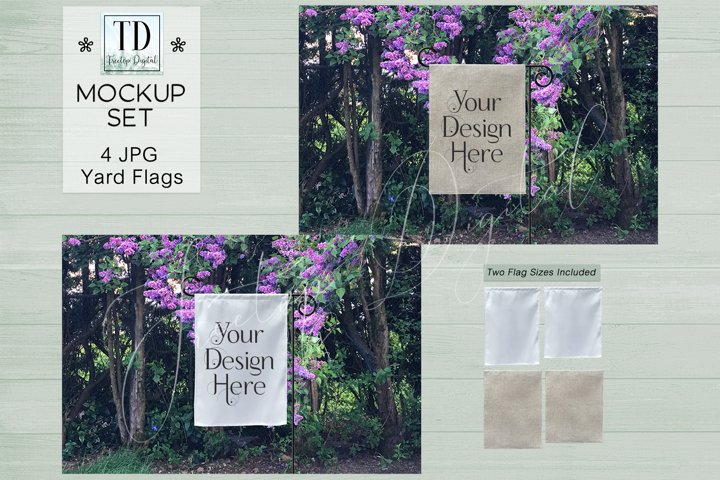 Yard Flag Mockups with Lilacs, White & Burlap Flag Mock-Ups