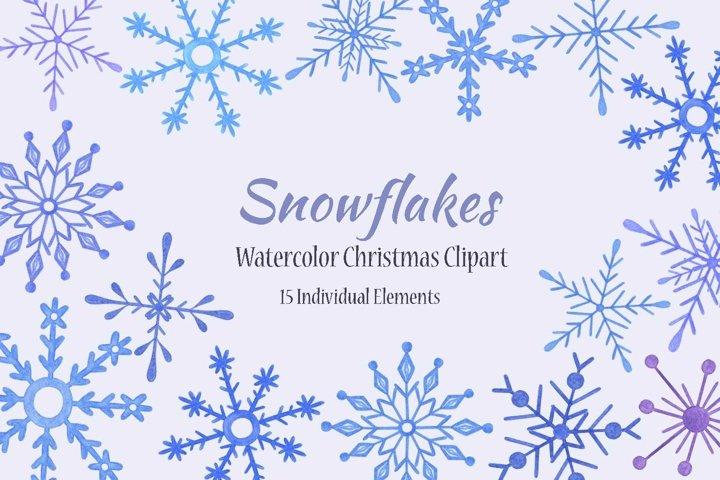 Snowflakes Watercolor Winter Cipart