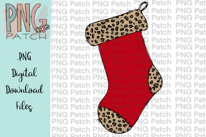 Leopard Print Stocking, Christmas PNG File, Sublimation