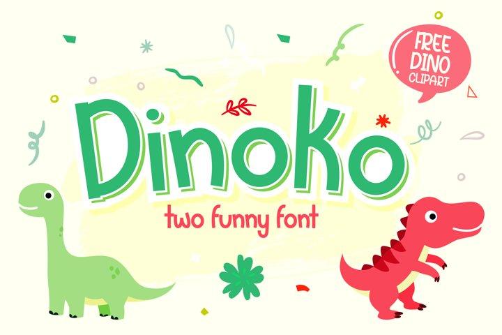 Dinoko | Cute layered font with dino