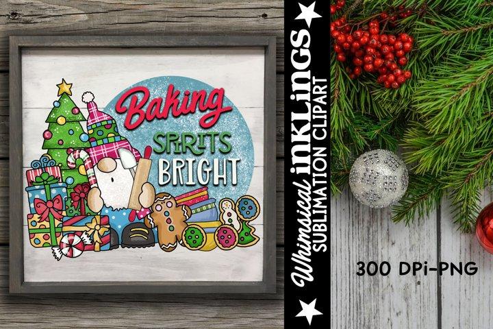 Baking Spirits Bright-Gnome Sublimation Clipart