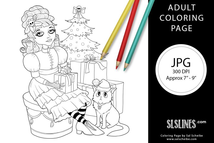 A Gothic Christmas Scene Adult Coloring Page
