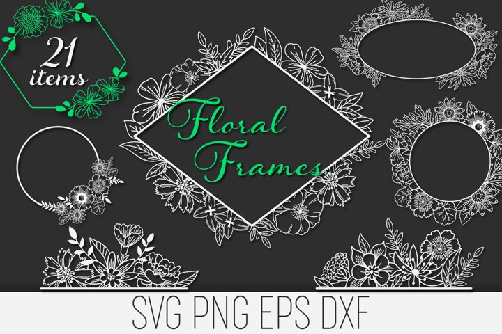 Floral Frames SVG Files Pack with 21 Items