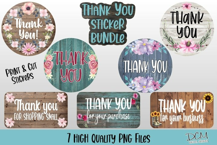 Thank You Stickers PNG Bundle, Rustic Sticker PNG