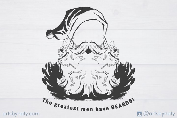 Quote about men, beards, and Santa. SVG illustration.