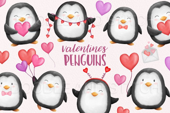 Valentines Watercolor Penguins Clipart