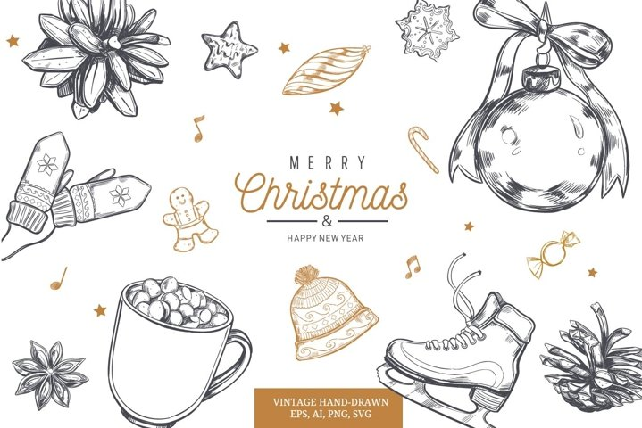 Merry Christmas and New Year vintage hand-drawn illustration