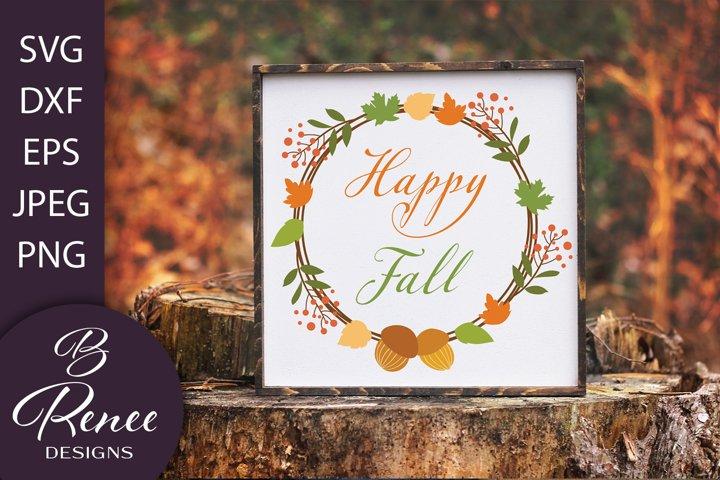 Fall Wreath SVG   Happy Fall SVG