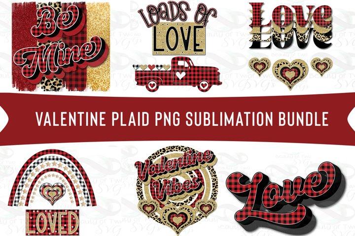 Valentine Sublimation Bundle 6 png files Valentine Red Plaid