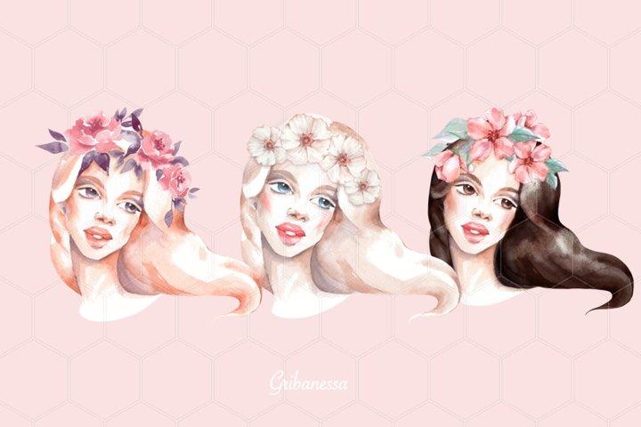 Romantic girls. Watercolor