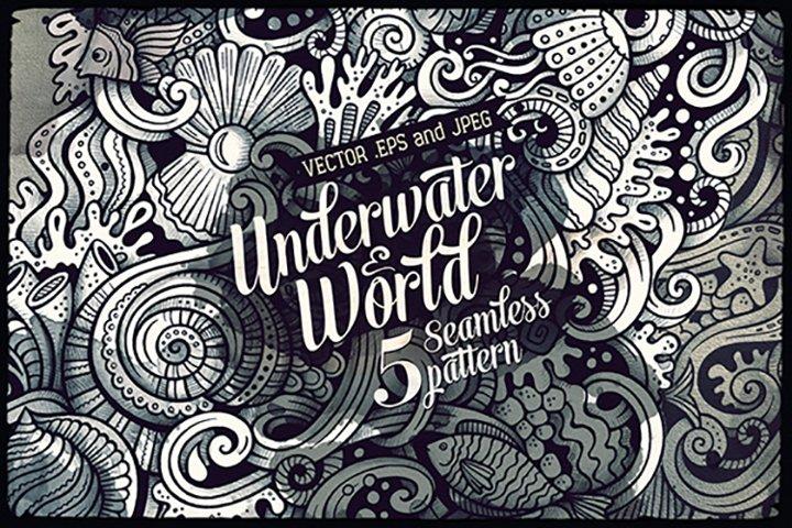 Underwater World Graphics Doodle Patterns