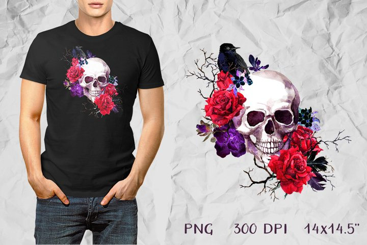 Skull and roses flowers PNG. Watercolor sublimation