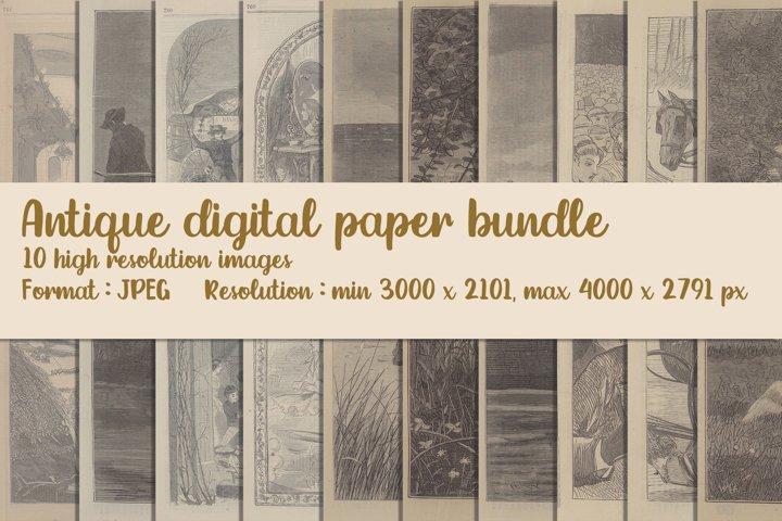 A set of 10 images. Antique digital paper bundle