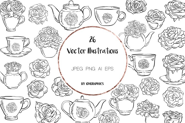 26 Tea cups, Teapots and Roses Vector Illustrations