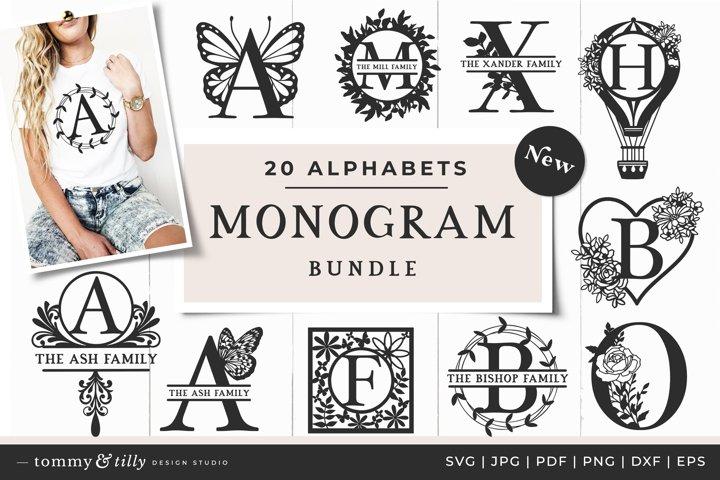 20 Alphabet Monogram SVG Bundle Cut Files