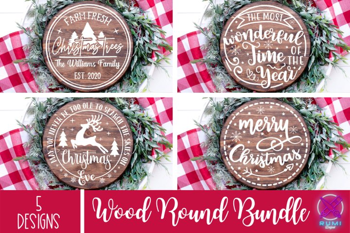 Christmas Bundle, Christmas Wood Round Sign SVG, Cut Files