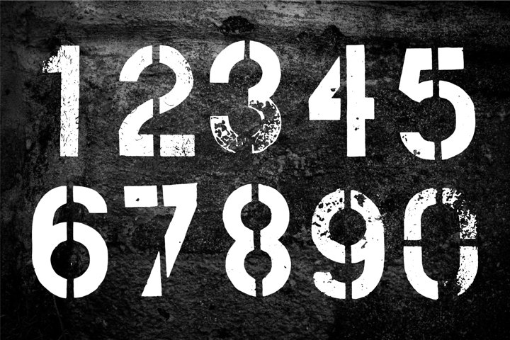 Stencil Grunge Numbers