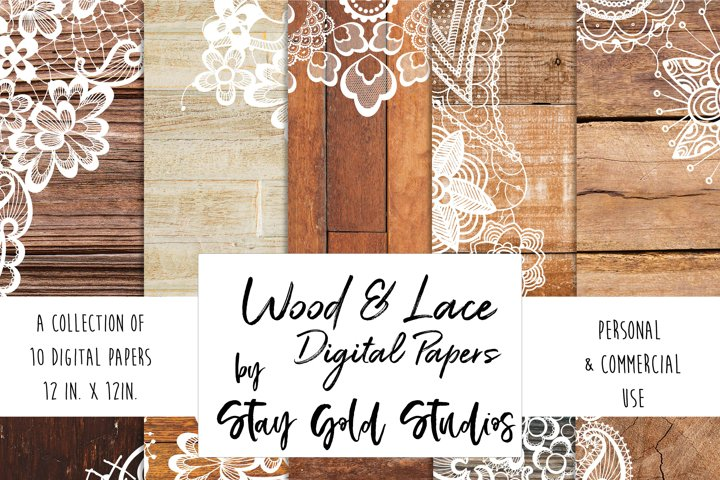 Wood & Lace Digital Papers