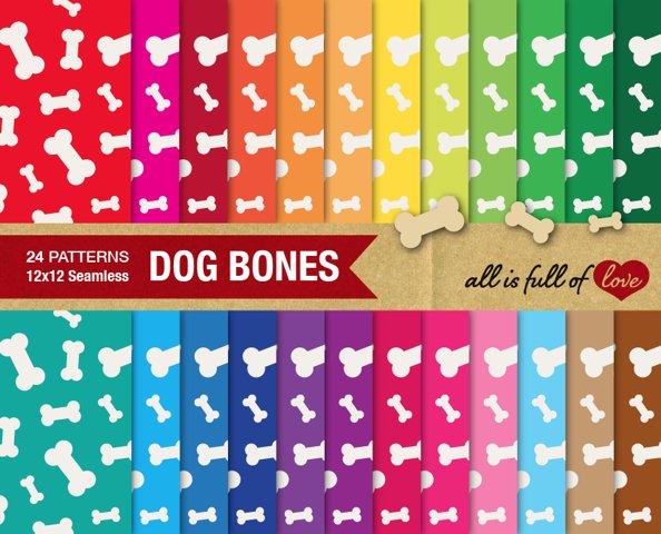 Dog Bones Digital Paper Doggy Bone Background Patterns for print or web