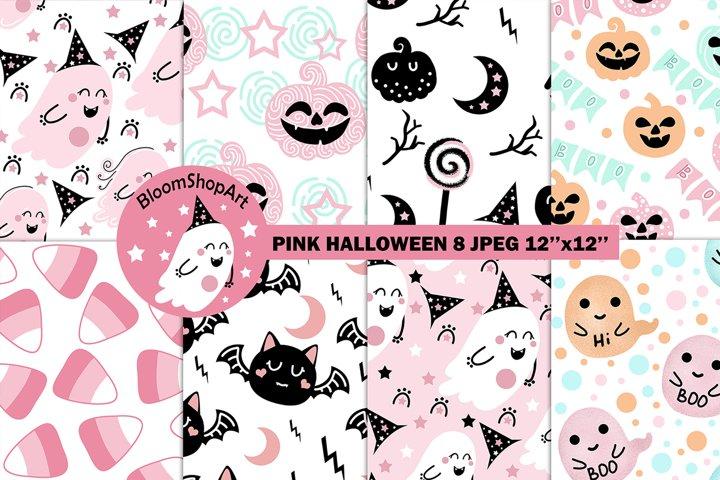 Blue halloween digital paper, pastel halloween party