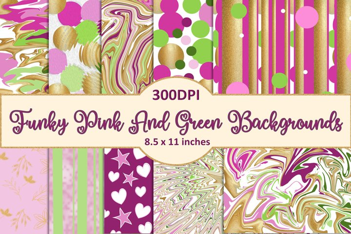 10 Funky Pink and Green Backgrounds JPEG and PDF